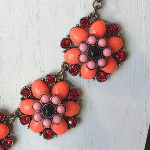 J. Crew orange pink flower statement necklace